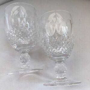 Set of 2 Waterford Crystal Colleen 4 3/4 Claret Wine Glasses Short Stem Stemware