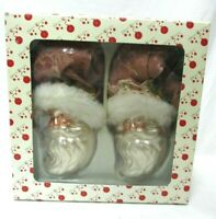 Dillard's Trimmings Santa Claus Pink Glasses Christmas Ornament Vintage Set NEW