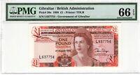 Gibraltar PMG Certified Banknote 1988 1 Pound UNC 66 EPQ Gem Pick 20e TDLR