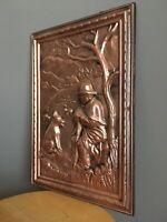 Tableau en cuivre repoussé fait main .. vintage .. Le Chien du Berger ..