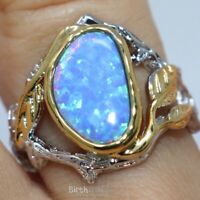 Gorgeous Blue Opal Ring Women Engagement Jewelry Gift Sz 6 to 9 14K Gold Plated