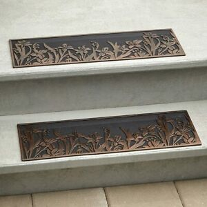 2 Stair Step TREADS MATS or 1 DOORMAT Rug FLOWER Outdoor Rubber Porch Traction
