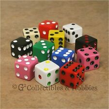 NEW 12 Multi-Color 16mm Dice Set RPG Bunco Game Six Sided 5/8 inch D6 Koplow