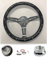 "1965-69 Mercury Comet Cyclone Cougar 14"" Steering Wheel Black Wood on Chrome"