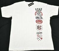 Ecko Unltd T-Shirt Men Size L Rhino Logo Graphic Tee White Urban Streetwear P716