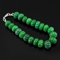TOP GRADE SELLING 334.50 CTS EARTH MINED EMERALD CARVED BEADS BRACELET (RS)
