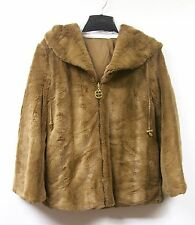 IMAN Luxury Mink Faux Fur Jacket Platinum Collection $199.95 CAMEL XS