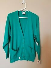 Vintage Alberoy Cardigan Sweater L Lg Large Green Button Long Sleeve Pockets New