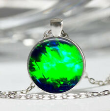 Gemstone Image Tibet silver Dome Glass Cabochon Necklace chain Pendant #201