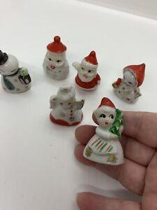 "6 Made in Japan Bone China Christmas Figurines 2"" Vintage Santa, Angel, Snowman"