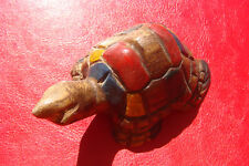 OLD VINTAGE Hand Carved Wooden Art Sculpture Turtle FIGURE HAND PAINTED