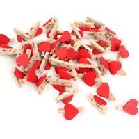 US Lovely Heart Shape Wooden Photo Peg Pin Clothespin Craft Postcard Clip Decor