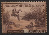 1942, US 1$ Duck Stamp, American Widgeon, Sc RW9, MH Damaged