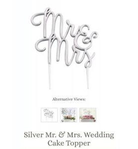 "Wedding Cake Topper Mr & Mrs Cake Pick Silver New In Box 5"" Lillian Rose"