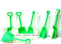 "12 (6 ea.)Lime & White Plastic Toy Sand Shovels &""I Dig You"" Stickers Mfg USA"