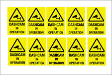 DASHCAM IN OPERATION STICKERS  - 50 X 75MM PRINTED on exterior vinyl pack of 10