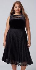 Lane Bryant Plus Black VELVET Pleated Midi Lace Cocktail Wedding Dress 16 1X NWT