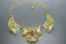 Vintage byzantine style filigree green red cabochon pendant necklace