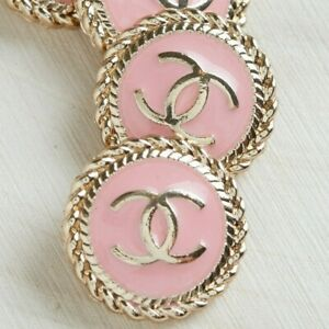 Chanel Button STAMPED 2pc 16 mm CC Coral Pink & Gold 2 Buttons AUTH!!