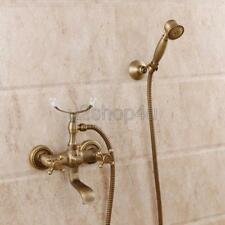 Antique Brass Wall Mounted Tub Faucet Bath Mixer Tap with Hand Shower Utf352