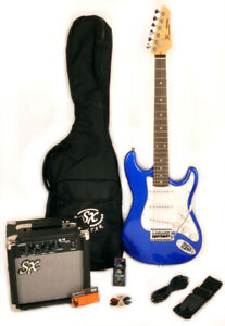 SX RST 3/4 EB Blue Electric Guitar Package 3/4 Size w/Amp, Bag