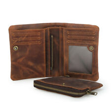 Vintage Men Real Leather Bifold Wallet Cowboy Purse Card Coin Photo Holder