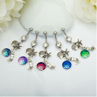 Women Body Piercing Mermaid Scale Crystal Ball Button Barbell Belly Navel Ring