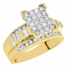 Rectangle Ladies Engagement Ring 1 Ct. 10K Yellow Gold Baguette & Round Diamond
