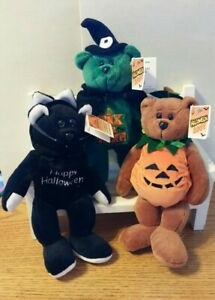 """Halloween CLASSIC COLLECTICRITTER 9"""" Lot of 3 BLACK CAT, WITCH, PUMPKIN New"""