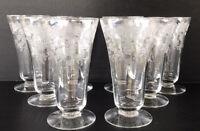 Vintage Tiffin Rose Etched Footed Iced Tea Goblets Elegant Glass Set Of 8
