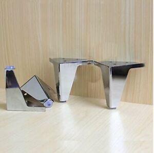 "4pc Furniture 4"" Sofa Couch Feet Legs Metal Chrome Polish Cabinet Corner Feet"