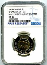 2016 O CANADA $2 POLAR BEAR TOONIE NGC MS67 ERROR LABELED AS $1 AND MAPLE LEAVES