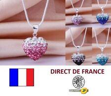 Lot 10 colliers shamballa coeur double coloris revendeur FR marché NEUF bijoux