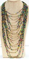 "Vintage Multi Strand Multi-Colored Waterfall Glass Seed Bead 19-40"" Necklace"