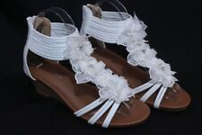 Women's Flower Sandals Wedge Heel Buckled Ankle Strap shoes White