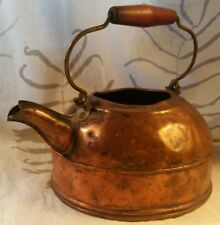 Vintage Copper Tea Pot Kettle Gooseneck Spout Red Wood Handle Antique Patina