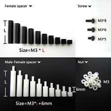 25/50/100pcs Plastic Nylon M3 Hex Column Standoff Support Spacer Screw Nut