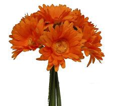 ORANGE ~ Gerbera Daisy Daisies Bridal Bouquet Silk Wedding Flowers Centerpieces