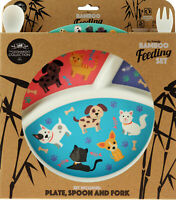 Dogs And Cats Bamboo Eco Friendly 3 Piece Dinner Set - Plate, Fork, Spoon