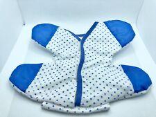 Vintage 1986 Pound Puppies Newborn Puppy Outfit White & Blue Polka Dot Sleeper