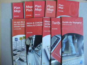 10 Belgian Brussels Tram Maps & Leaflets 2008-2012 MIVB STIB