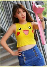 New Sexy  Girls Lady Pikachu Vest Tops Bare-midriff T shirt Anime Cospaly Tee