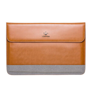 LENTION Thin Split Leather Laptop Sleeve Bag Cover Case for MacBook Pro Air 13