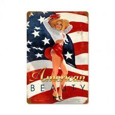 American Beauty Tin Metal Sign American Flag Pin Up Girl I Stand Patriotism USA