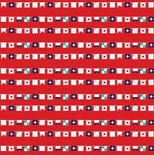 Fabric Nautical Regatta Seaside Flags on Red Cotton by the 1/4 yard BIN