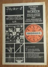 Fischer - Z working tour 1979 press advert Full page 28 x 39 cm mini poster