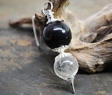Black Tourmaline crystal Quartz Double Sphere Pendulum ~  Healing Dowsing 811