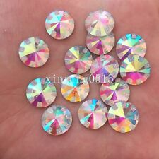 New DIY 40pcs 12mm round AB Resin rhinestone FlatBack Applique wedding buttons