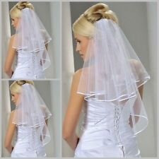 Short Veil Bride Wedding Accessories White Satin Edge Bridal Veil Organza Elbow