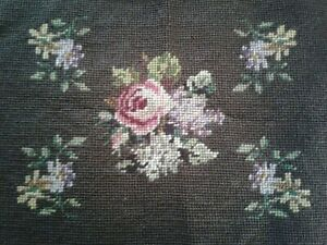 """Vintage Needlepoint Piece - Floral on Brown Background - 15"""" x 21"""""""